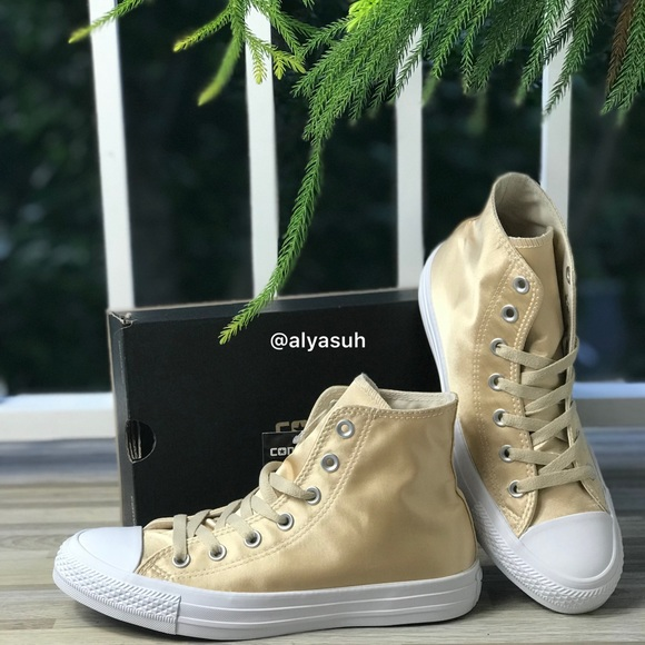Converse Ctas HI Parchment Satin Gold W AUTHENTIC 9910577e7